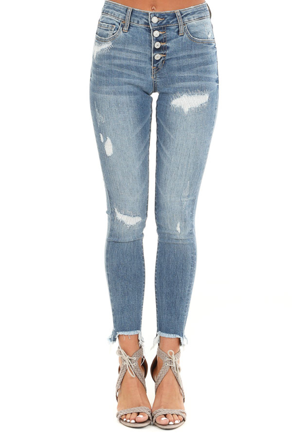 Medium Wash Mid Rise Denim Skinny Jeans with Raw Cuff front view