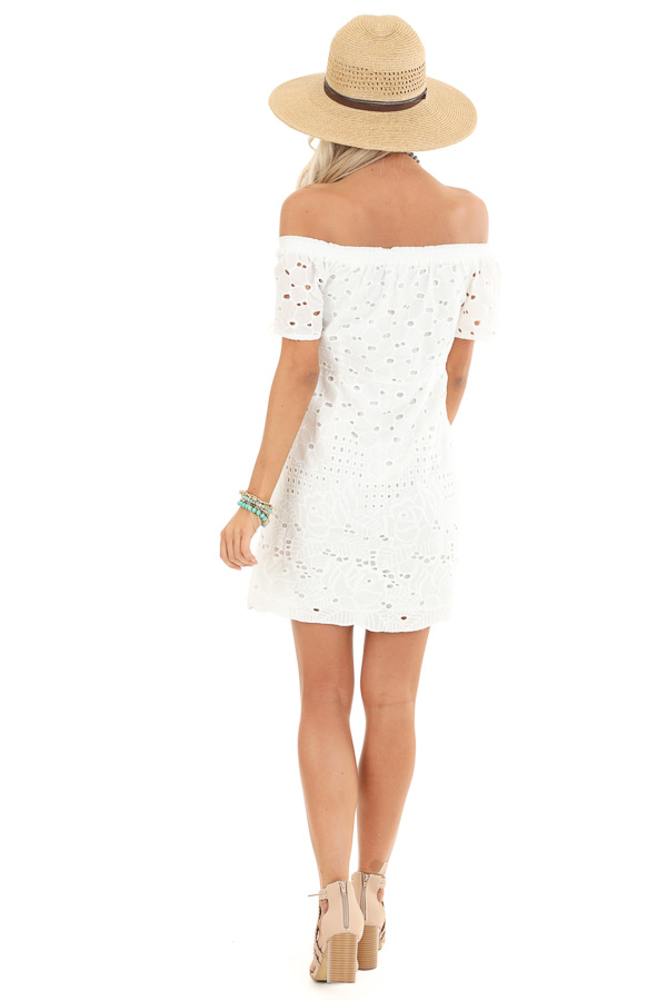 Cotton White Off the Shoulder Short Sleeve Eyelet Lace Dress back full body