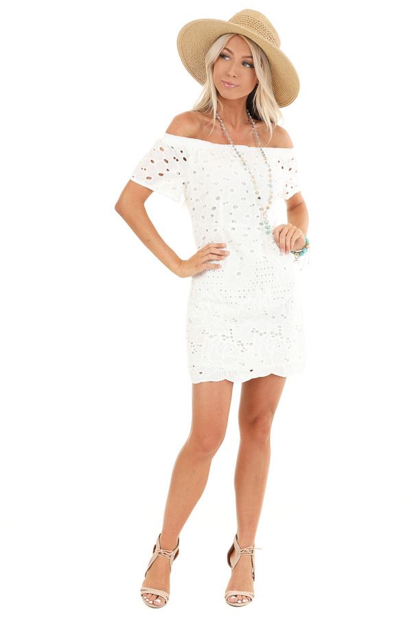 Cotton White Off the Shoulder Short Sleeve Eyelet Lace Dress front full body