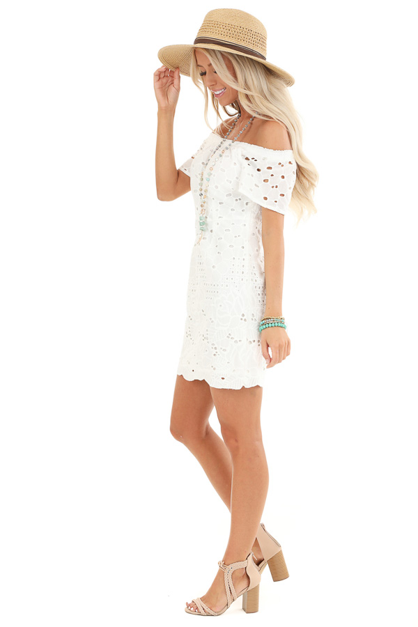 Cotton White Off the Shoulder Short Sleeve Eyelet Lace Dress side full body