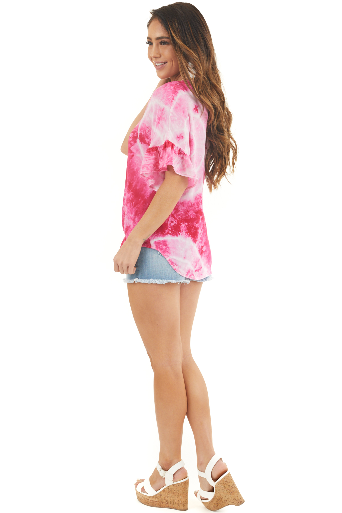 Hot Pink Tie Dye Top with Button Up Detail and Front Tie
