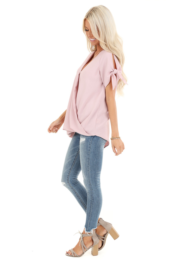 Blush Surplice Short Sleeve Top with Tie Details side full body