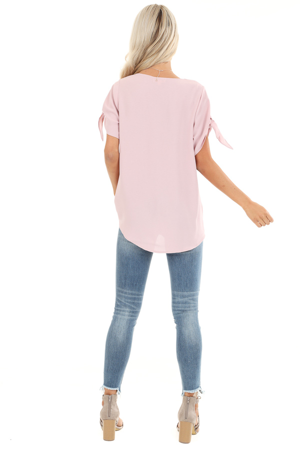 Blush Surplice Short Sleeve Top with Tie Details back full body
