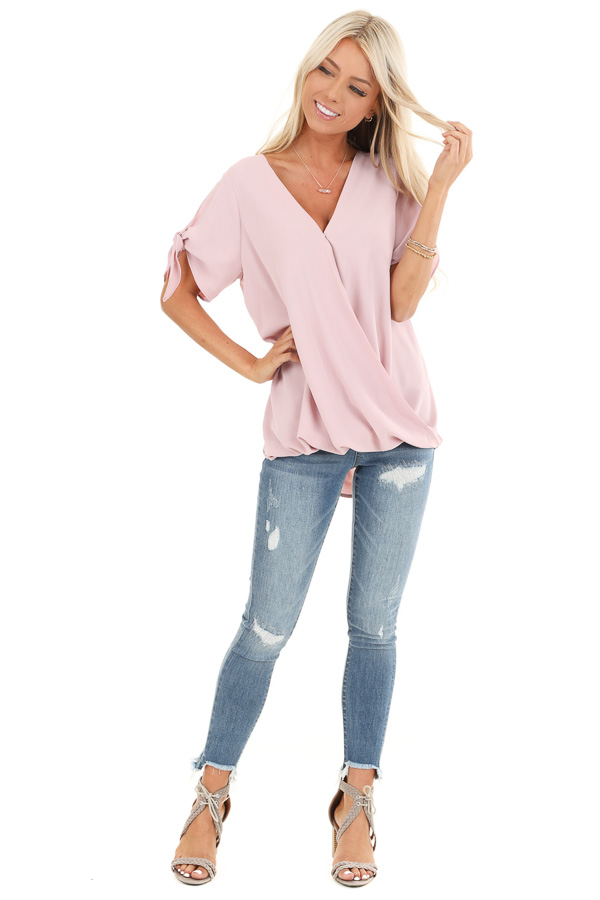Blush Surplice Short Sleeve Top with Tie Details front full body