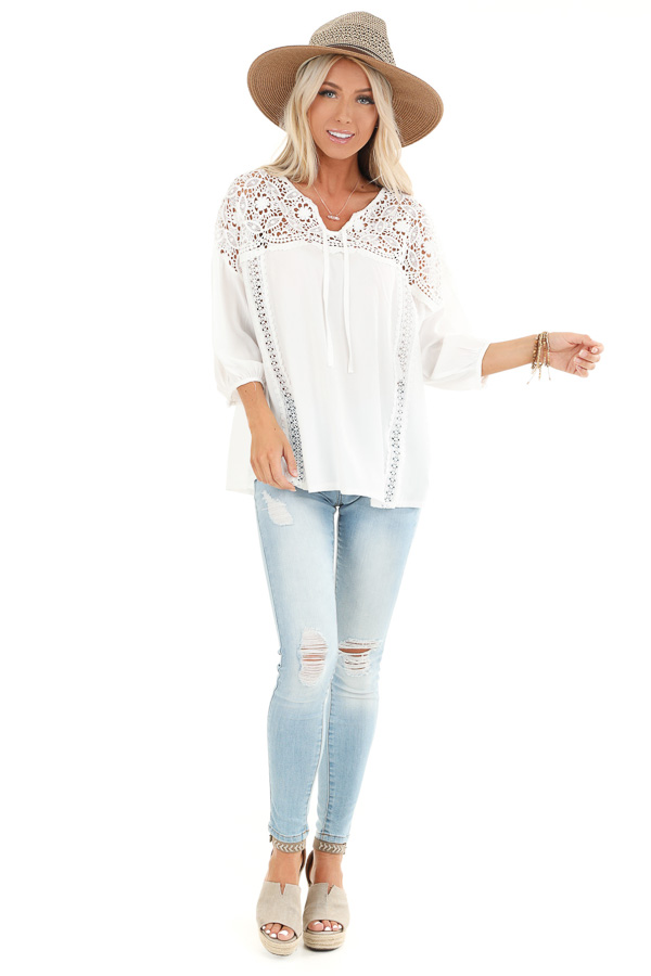 Coconut White 3/4 Sleeve Top with Sheer Lace Details front full body