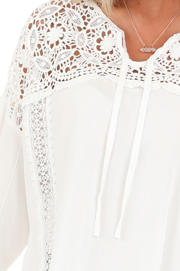 Coconut White 3/4 Sleeve Top with Sheer Lace Details detail