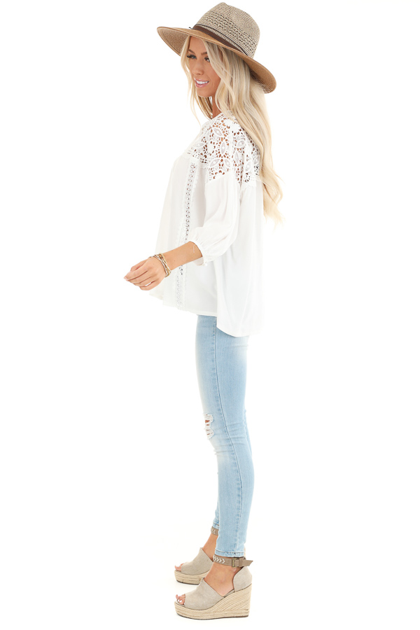 Coconut White 3/4 Sleeve Top with Sheer Lace Details side full body
