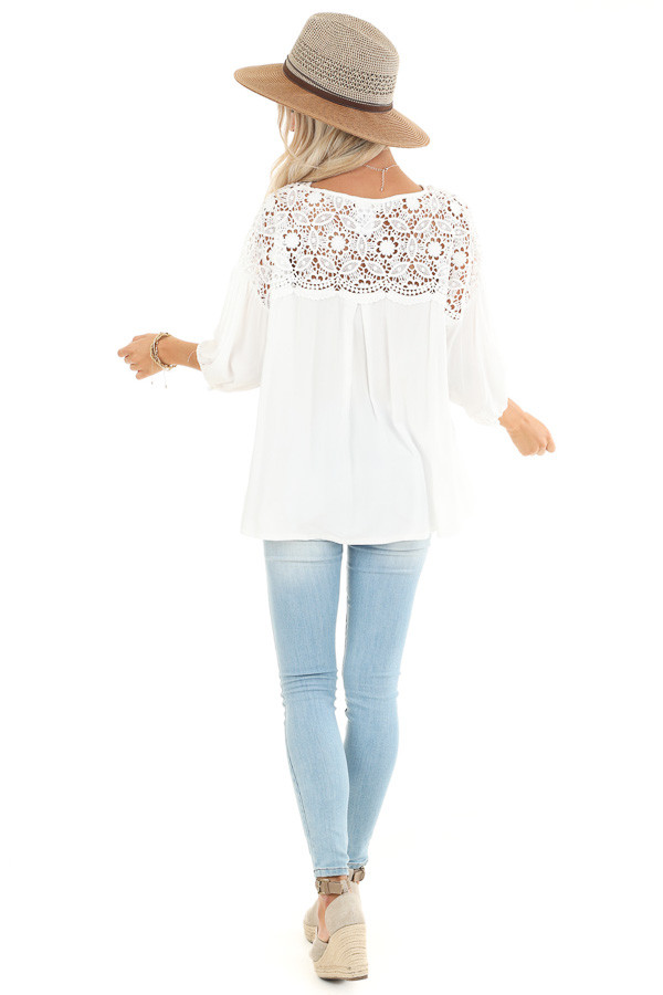Coconut White 3/4 Sleeve Top with Sheer Lace Details back full body