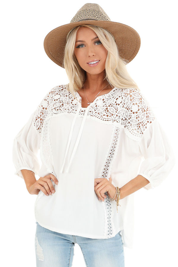 Coconut White 3/4 Sleeve Top with Sheer Lace Details front close up