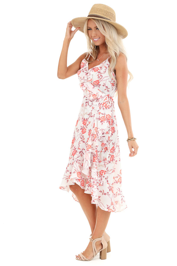Pearl and Floral Print Ruffle Wrap High Low Midi Dress side full body