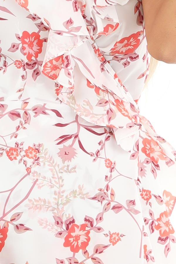 Pearl and Floral Print Ruffle Wrap High Low Midi Dress detail