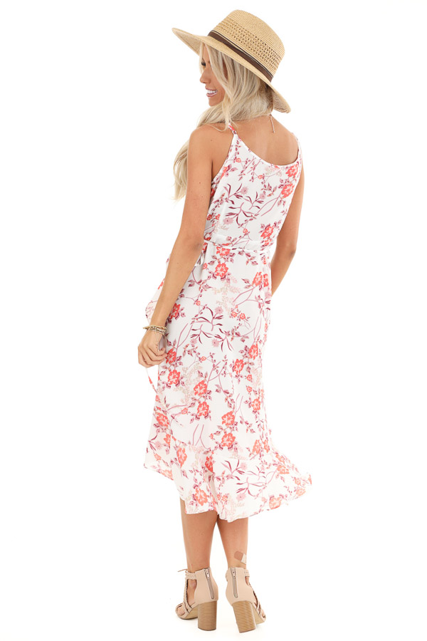 Pearl and Floral Print Ruffle Wrap High Low Midi Dress back full body