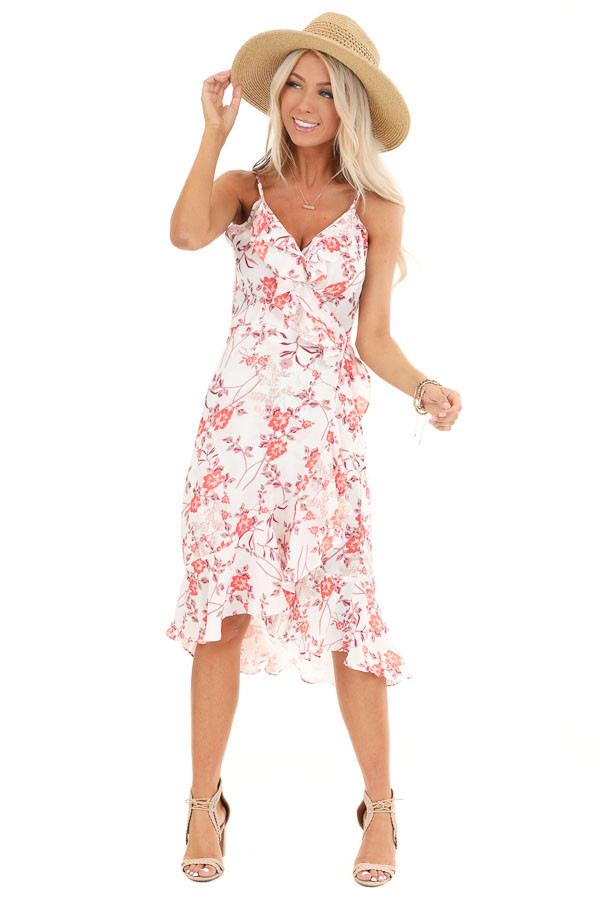 Pearl and Floral Print Ruffle Wrap High Low Midi Dress front full body