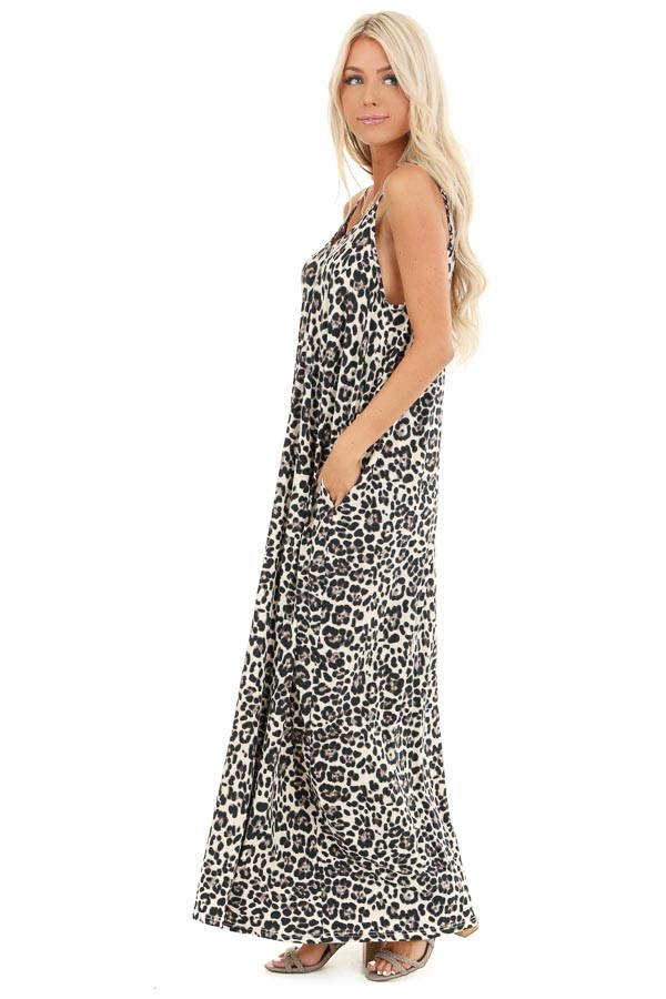 Cream Leopard Print Maxi Dress with Side Pockets side full body
