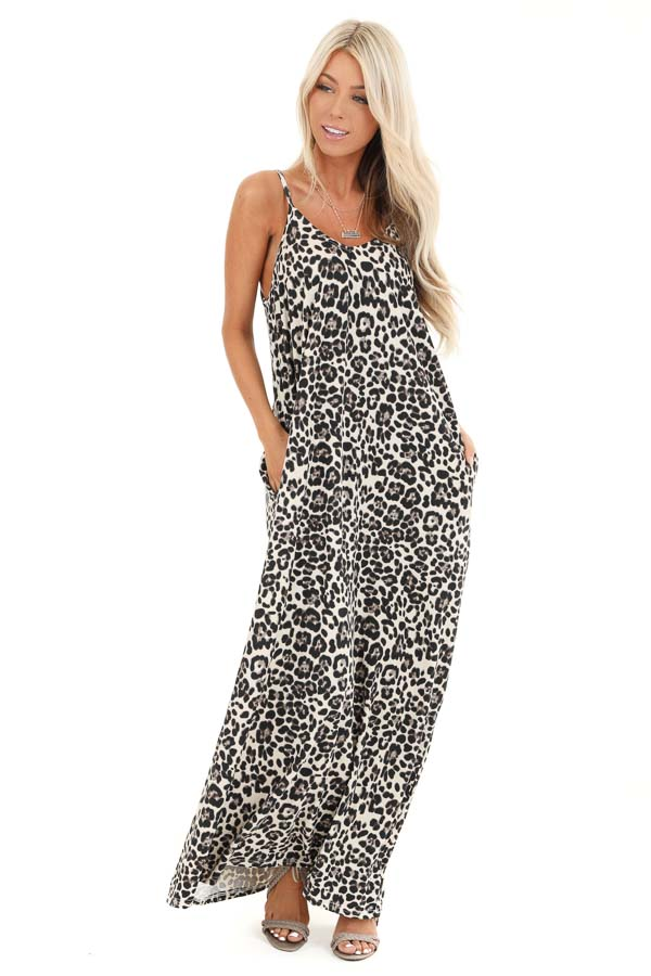 Cream Leopard Print Maxi Dress with Side Pockets front full body