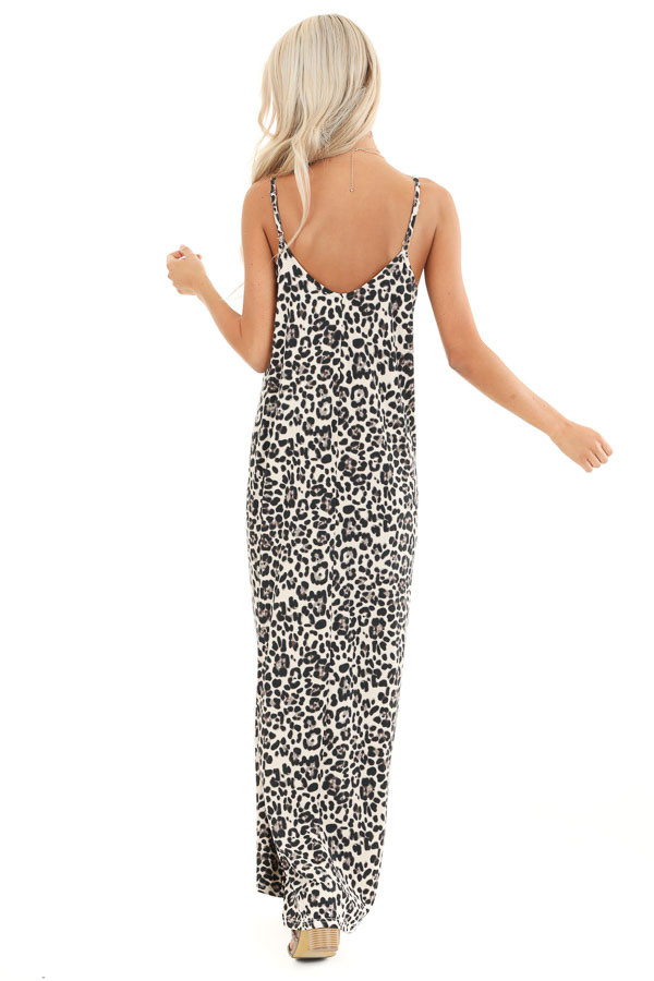 Cream Leopard Print Maxi Dress with Side Pockets back full body