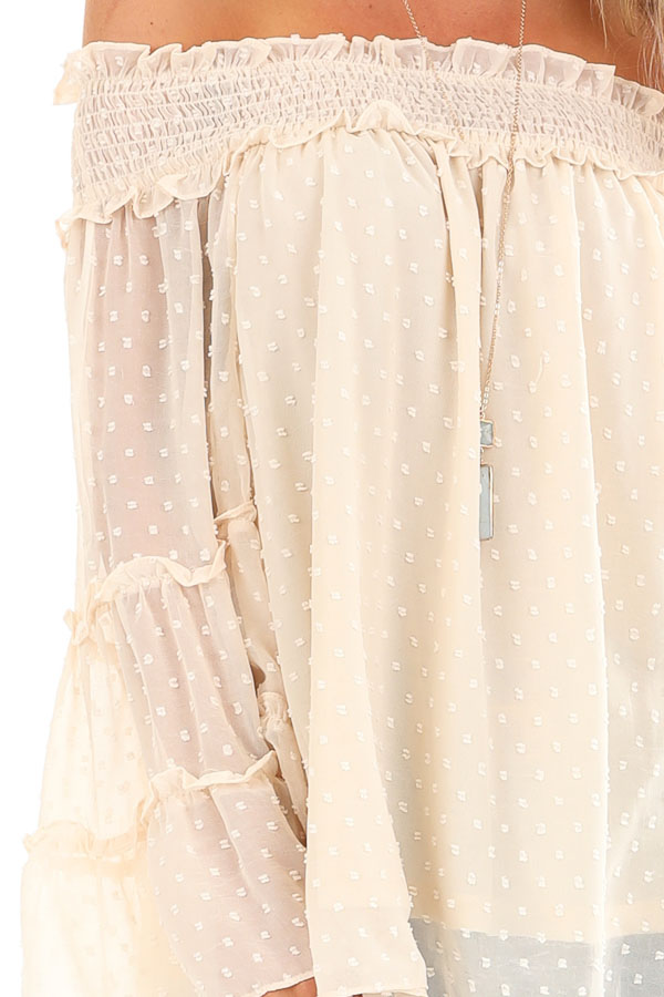 Cream Off the Shoulder Top with 3/4 Tiered Bell Sleeves detail