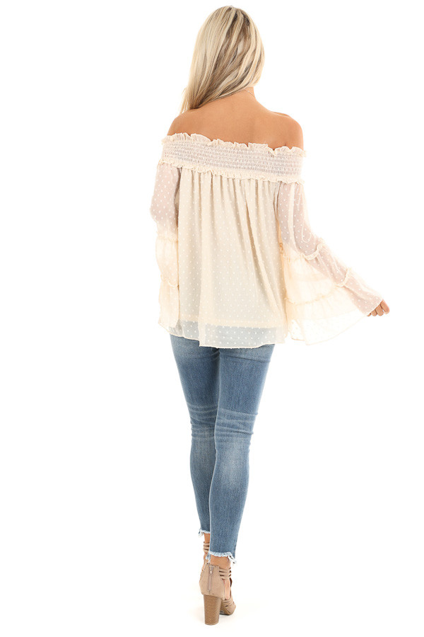 Cream Off the Shoulder Top with 3/4 Tiered Bell Sleeves back full body