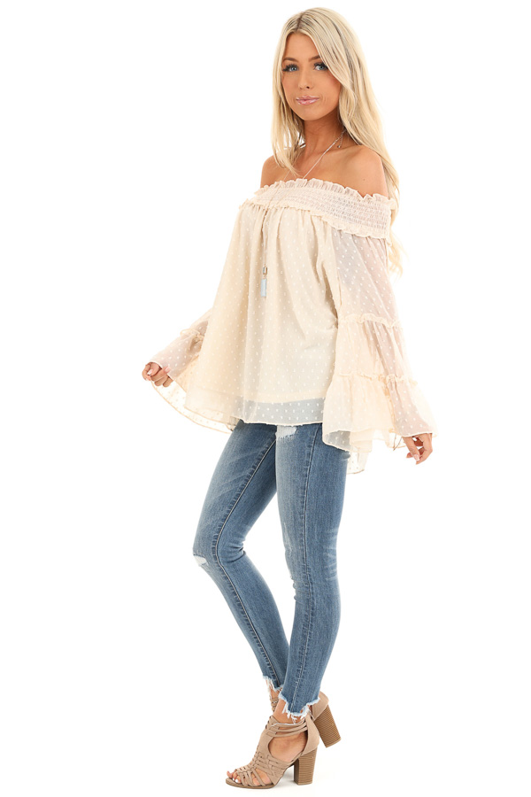 Cream Off the Shoulder Top with 3/4 Tiered Bell Sleeves side full body