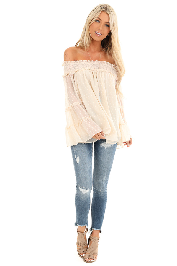 Cream Off the Shoulder Top with 3/4 Tiered Bell Sleeves front full body