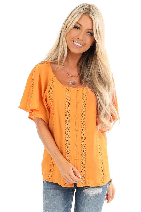 Papaya Button Up Short Sleeve Top with Sheer Lace Details front close up