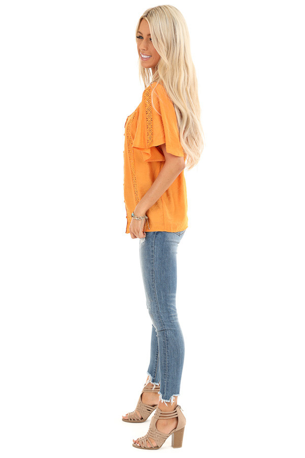 Papaya Button Up Short Sleeve Top with Sheer Lace Details side full body