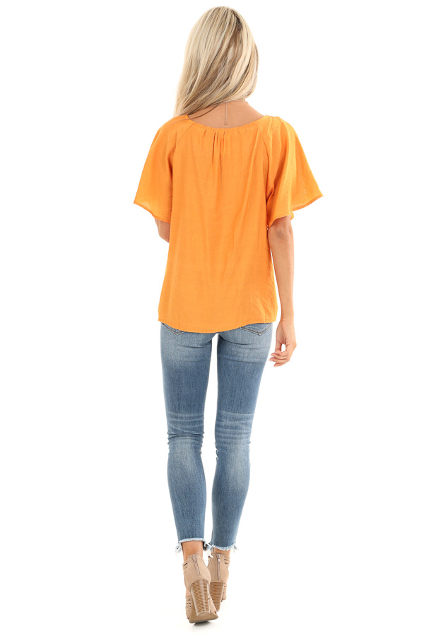 Papaya Button Up Short Sleeve Top with Sheer Lace Details back full body