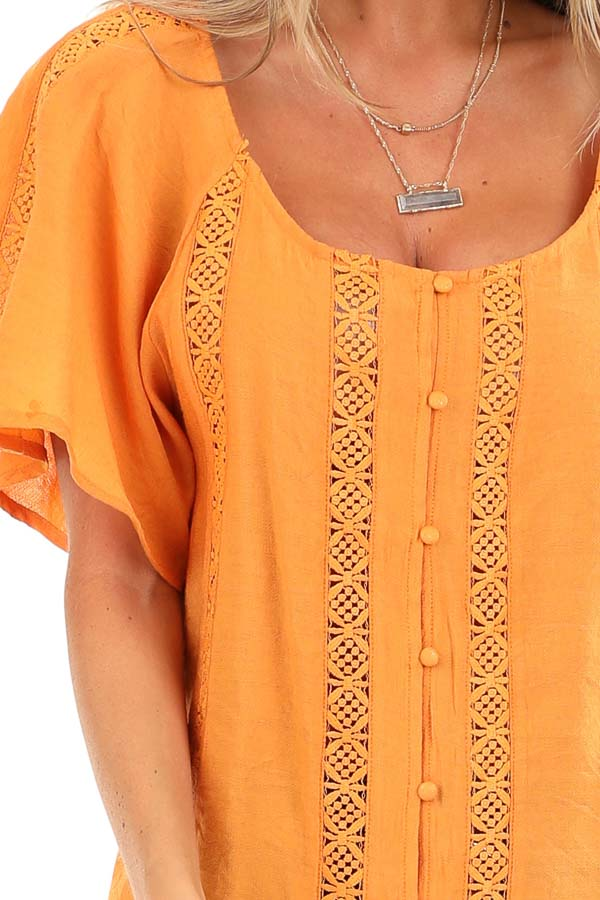 Papaya Button Up Short Sleeve Top with Sheer Lace Details detail