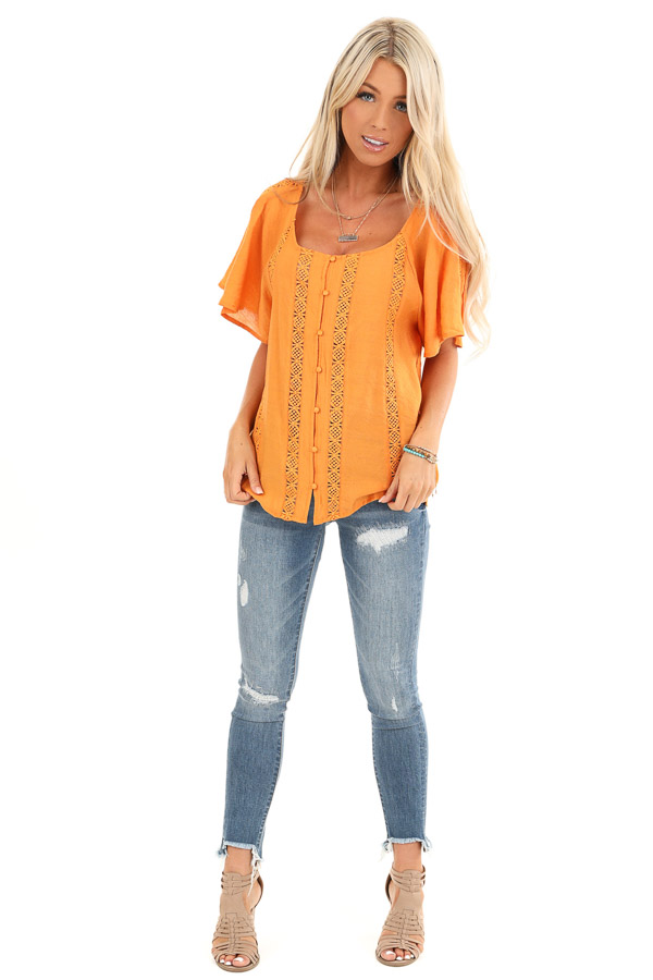 Papaya Button Up Short Sleeve Top with Sheer Lace Details front full body
