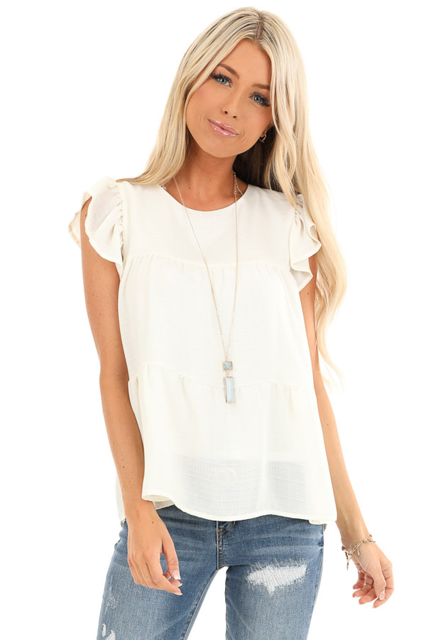 Cream Short Ruffle Sleeve Top with Keyhole Back front close up