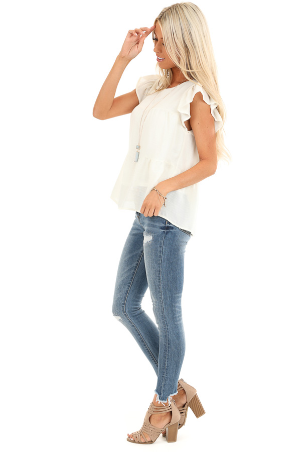 Cream Short Ruffle Sleeve Top with Keyhole Back side full body