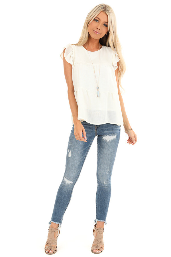 Cream Short Ruffle Sleeve Top with Keyhole Back front full body