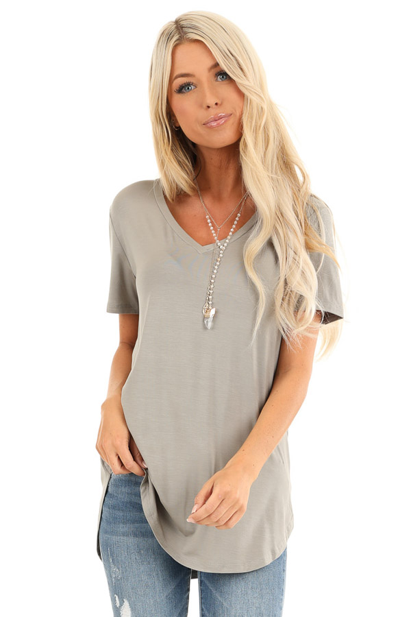 Antique Sage Loose Short Sleeve Top with V Neckline front close up