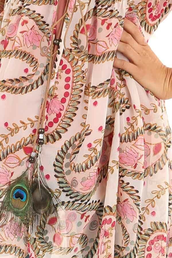 Blush Paisley Cold Shoulder Kimono with Peacock Feather Tie detail