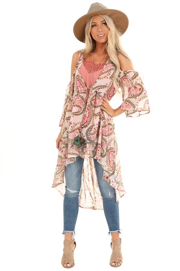 Blush Paisley Cold Shoulder Kimono with Peacock Feather Tie front full body