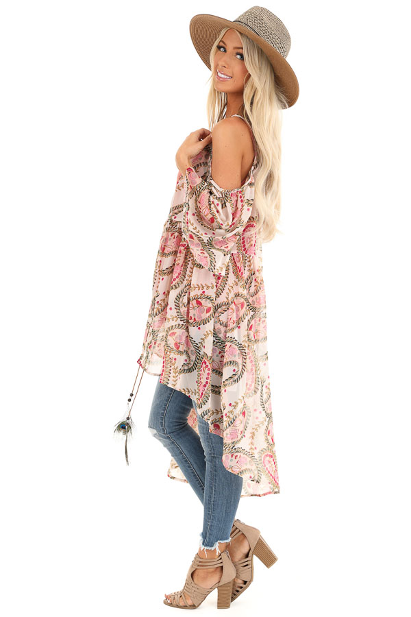 Blush Paisley Cold Shoulder Kimono with Peacock Feather Tie side full body