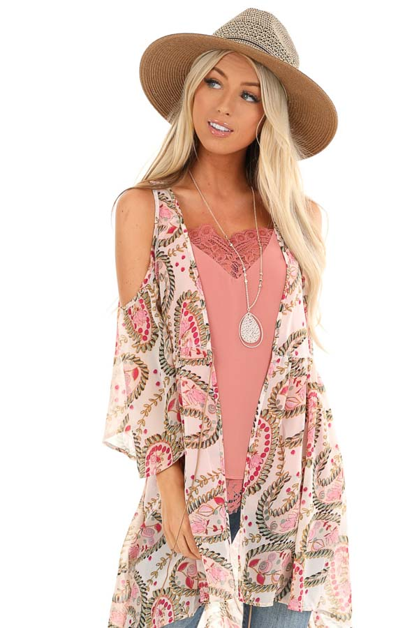 Blush Paisley Cold Shoulder Kimono with Peacock Feather Tie front close up