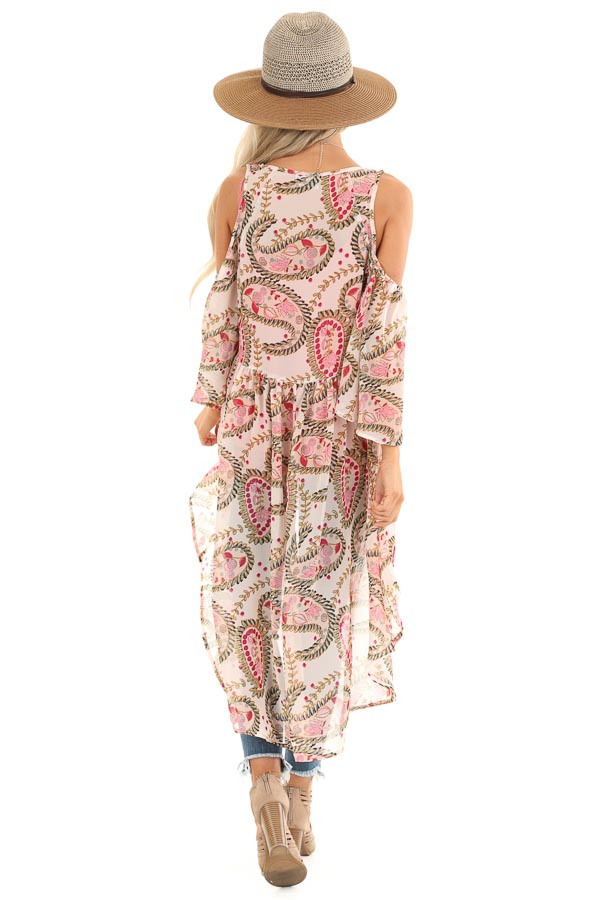 Blush Paisley Cold Shoulder Kimono with Peacock Feather Tie back full body