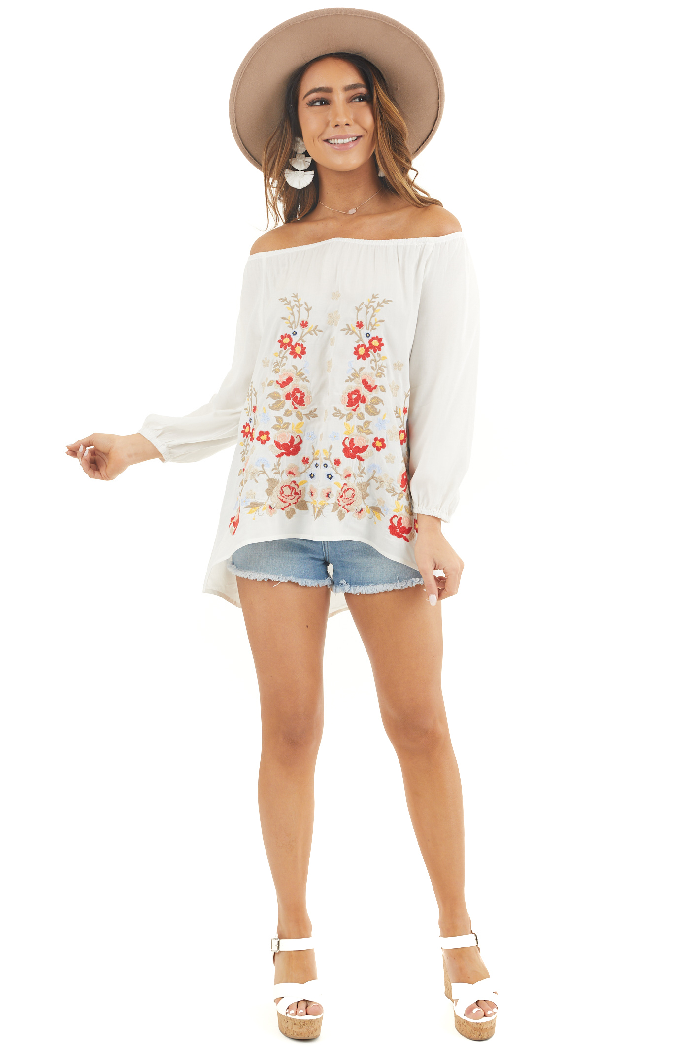 Pearl White Off the Shoulder Top with Embroidery Details