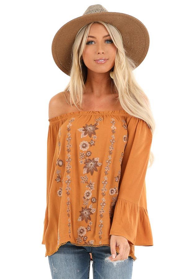 Honey Off the Shoulder Top with Floral Embroidered Detail front close up