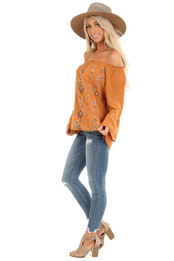 Honey Off the Shoulder Top with Floral Embroidered Detail side full body