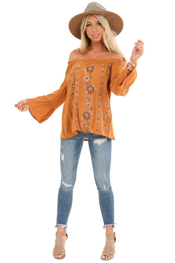 Honey Off the Shoulder Top with Floral Embroidered Detail front full body