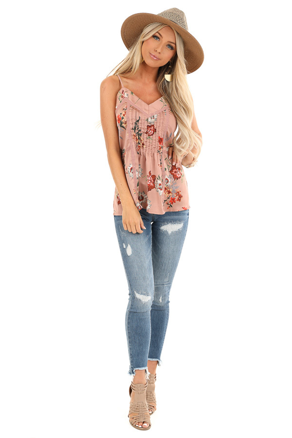 Mauve Floral Spaghetti Strap Tank with Lace Detail front full body