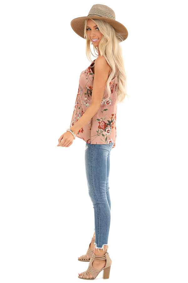 Mauve Floral Spaghetti Strap Tank with Lace Detail side full body