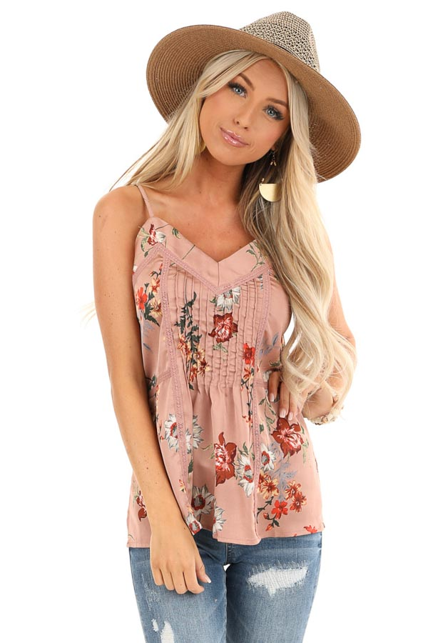 Mauve Floral Spaghetti Strap Tank with Lace Detail front close up