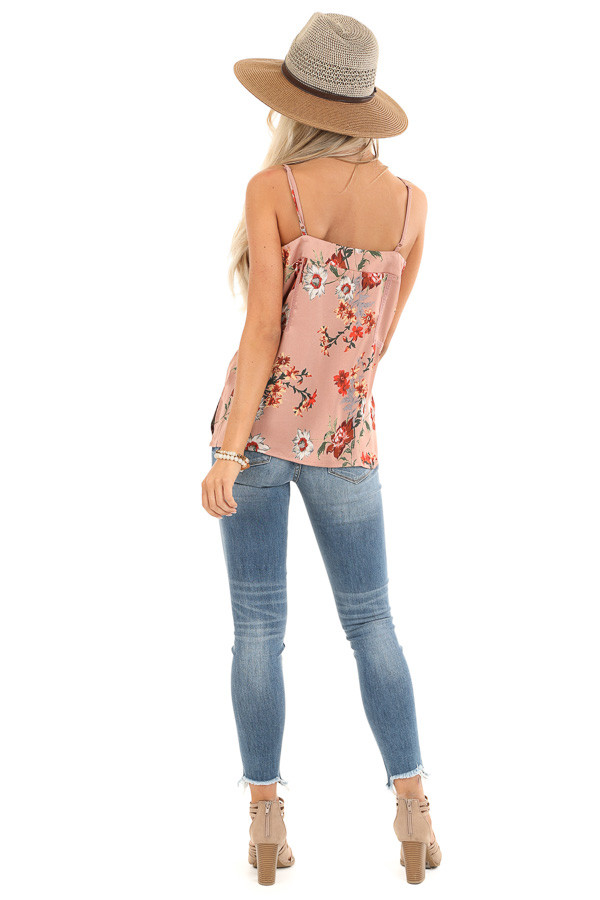 Mauve Floral Spaghetti Strap Tank with Lace Detail back full body