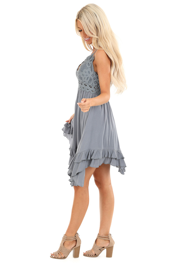Steel Blue Strappy Sleeveless Mini Dress with Sheer Waist side full body