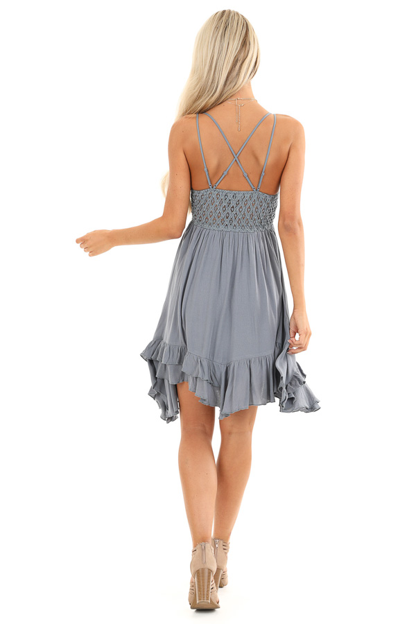 Steel Blue Strappy Sleeveless Mini Dress with Sheer Waist back full body