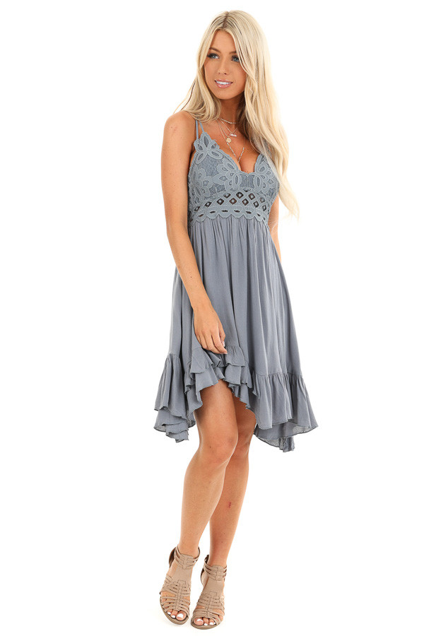 Steel Blue Strappy Sleeveless Mini Dress with Sheer Waist front full body