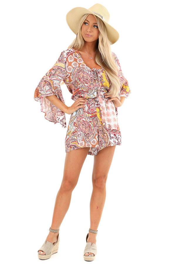 Multi Color Paisley Print Romper with Lace Up Front Details front full body